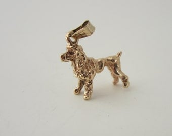 10k Gold Dog Charm, Dog Jewellery, Dog Charms, Poodle Charm, Solid Gold charms