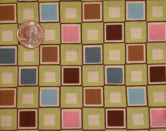 Crazy Bright Colors Green Brown Teal Squares Check Cotton Quilt fabric BTY by the yard