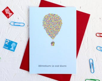 New House Card, New Adventure, House with Balloons, Congratulations Card, Moving House Card, Adventure is Out There, Birthday Card, UP Card