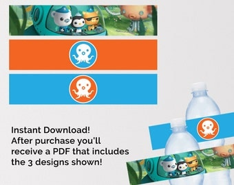 Octonauts Birthday, Octonauts Water Bottle Labels, Octonauts Printables, Octonauts Birthday Party, Octonaut Party Supplies, Instant Download