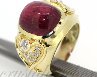 Estate 18k Yellow gold Natural Vivid Rose Pink Tourmaline & Diamond ring 12.72ct