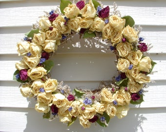 Victorian rose and dried flowers wreath made from WV grapevine and filled with 48 roses and dried flowers