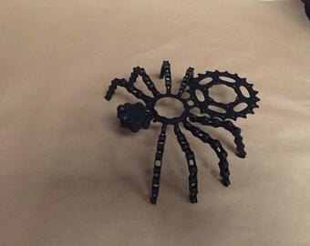 uocycled metal spider sculpture art