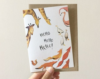 Hello Hello Greeting Card - Watercolour + Ink Illustration, 105 x 148mm, Animals, Zoo