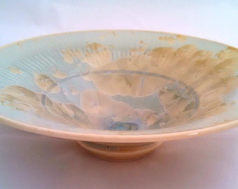 Pale aqua crystalline glaze ceramic bowl, signed, 7 inch diameter
