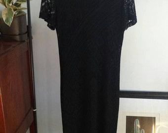 Vintage 90s/ Short Sleeved Black Lace Fringe Dress