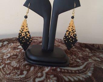 Gold & black -beaded earrings