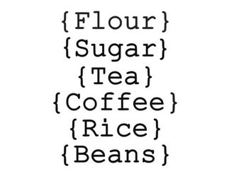 Set of 6 Canister labels, choose your labels, Pantry labels, Vinyl decals, kitchen, 1 or 2 inches