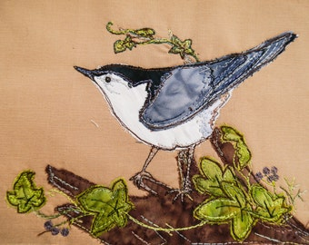 PAttern and fabric kit for Nuthatch and Ivy raw edge applique tutorial free motion embroidery