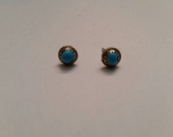 Vintage Turquoise Sterling Silver Earrings Southwestern 925
