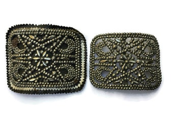 RESERVED FOR DANETTE Steel Cut Shoe Buckles Victorian 1900's mg France Antique Vintage Clip Buckle Jewelry Making Component
