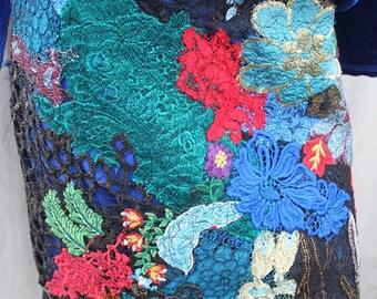 BE HAPPY LACE Skirt.unique, artsy, handmade, ready to ship.