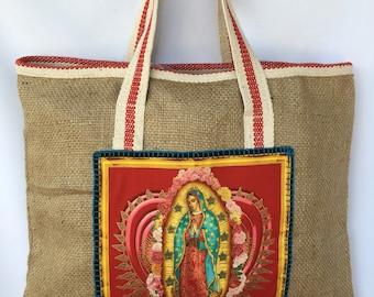 Virgencita Jute Tote Bag. Virgen de Guadalupe Shoulder Bag. Saint Virgen Hand Bag. Gift Friendly .