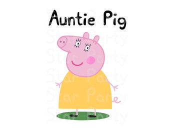 Auntie Pig, Aunt, Digital Image for T shirt, Pig party, Printable Iron On Transfer, Sticker custom Birthday Shirt image