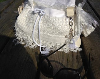 hand made lined shoulder bag with pockets and charms