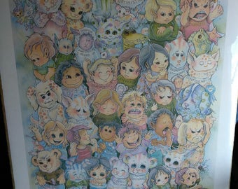 """The Garden of Children, an """"ICAN""""   1989 vintage 19x14 inch print by Jody Bergsma"""