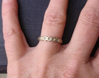 Two Tone Wedding Band 10k ring yellow gold simple illusion circle designs scallop stack