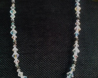 Beautiful 1950's Retro Aurora Borealis & Sterling Silver Necklace and Earring Set