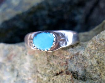 OLD NAVAJO TURQUOISE Ring, Handmade, Size 9 1/2, Sterling Silver