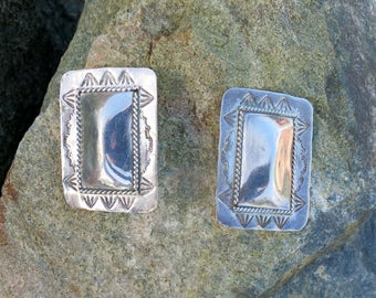 Large Handmade Navajo Earrings, Signed , Sterling Silver, Clips