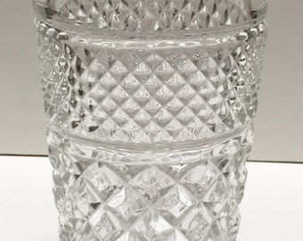 Wexford by Anchor Hocking Clear Crystal Tea or Water Glasses Flat Tumbler Diamond Point Set of 4 Vintage Replacemet Glasses