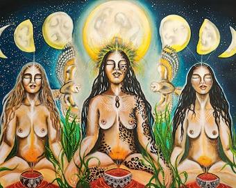 Moon Sistars-Jaguar Women,high quality print on fabric(Tapestry print)