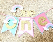 Rainbow smash cake set, pastel smash cake set, gold glitter first birthday highchair banner