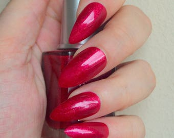 FALSE NAILS - Metallic Red Shimmer - Stick On - The Holy Nail