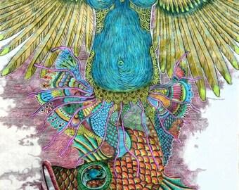 Sectio caesarea, 2016, 79cm * 46cm, ink, colored pencil, fiber painting on rice paper