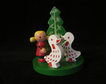 Holiday Candle Holder - made in Taiwan for Lenox Candles; wood accent piece. Girl with 2 white geese, green tree, red candle. A great gift!