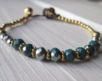 Pearl bracelet with shimmering Crystal beads * hippie boho Festival style * petrol