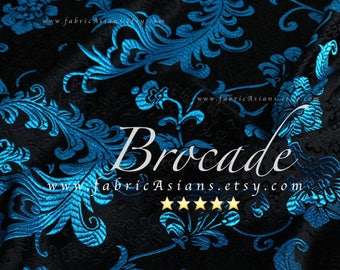Feather Brocade. Blue Brocade. Black brocade fabric. Chinese fabric. Asian fabric. Oriental fabric