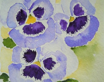 Purple Pansy Watercolor Notecard