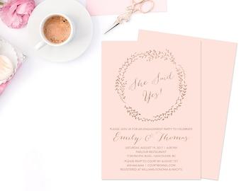 Rose Gold Engagement Invitation, Rose Gold Invitation, Rose Gold Wedding, Rose Gold Wreath Invitation