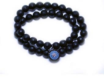 Onyx Beads Blue Charm Bracelet Double Wrap Faceted Onyx Bead Adjustable Elastic Bracelet Boho Chic Teen College Age Mother's Day Easter Gift