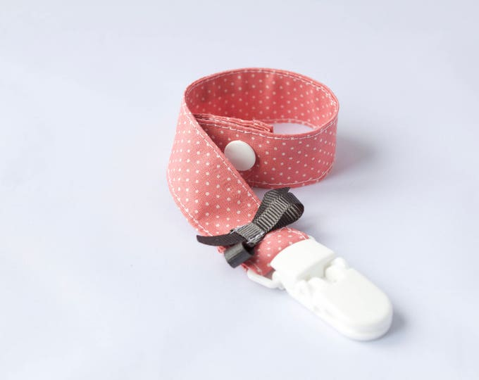 Deep pink pin dots with grey satin bow Baby Girl Dummy/Pacifier Clip
