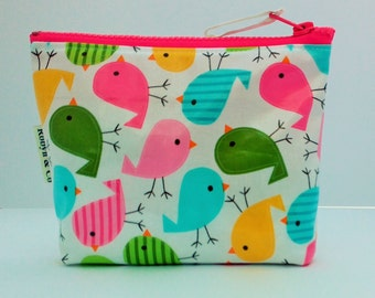 Cosmetic bag, small wet bag, makeup purse . Laminated chicken fabric and oilcloth. Stylish, brightly coloured smart and casual