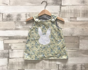 Floral Pinafore Dress | Baby Pinafore | Floral Baby Girls Dress | Yellow Floral Print Dress | Vintage Floral Print | Easter Dress