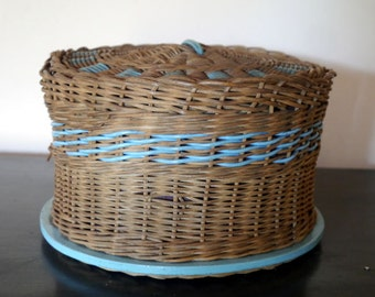 Vintage Sewing Basket, a Round Wicker Basket with Lid