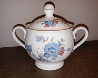 Noritake Versatone Lidded Sugar Bowl in the Bleufleur Pattern #B319W41