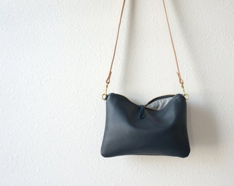 Soft Navy Leather Crossbody Pouch