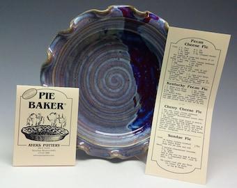"""Pottery Pie Plate Purple, 9"""" Pie Plate, Pie Plate, Pie dish, Ayers Pottery, Pie Baker, Deep Dish Pie Plate"""