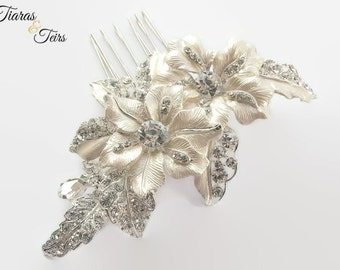 Ivory floral and crystal leaf wedding hair comb, floral bridal hair comb, enamel flower hair comb, wedding hair accessory, bridal hair comb