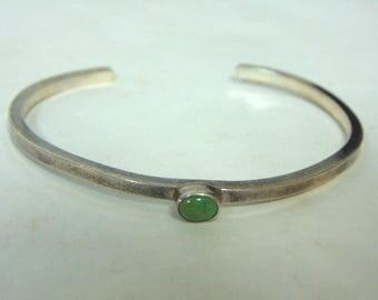 Vintage Estate Sterling Silver Southwestern Design Bracelet w/ Turquoise, 10.5g E3149