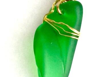 Sea glass pendant, Beach Glass, Sea Glass Jewelry, Sea Glass Necklace, Wire wrapped Jewelry, Gold jewelry, Wire Pendant, Green Sea Glass