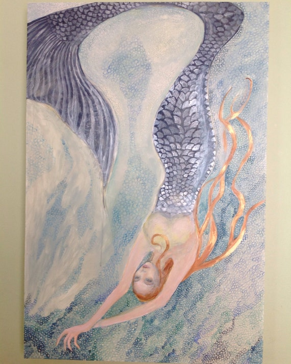 "Original Mermaid Painting ""Reaching Deeper"" Mixed Media Large 24 by 36 inches Rectangle Wall Art Woman Gold pink Decor"