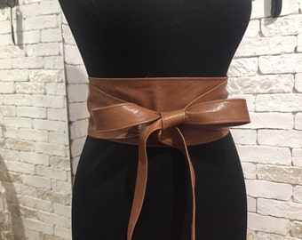 Brown obi belt, Lether obi belt, Brown leather obi belt.
