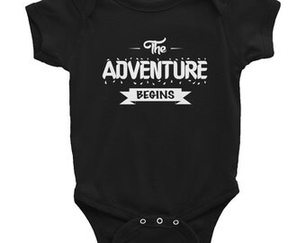 The adventure begins - Baby Onesie Bodysuit, Infant Baby Rib Short Sleeve One-Piece