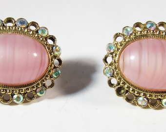 Shimmering Vintage 1960s Pink Cabochon and Aurora Borealis Rhinestone Earrings