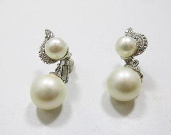 Flawless Vintage 1970s Faux Pearl and Rhinestone Drop Earrings